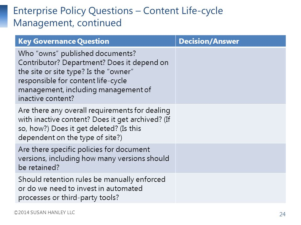 Enterprise Policy Questions – Content Life-cycle Management, continued