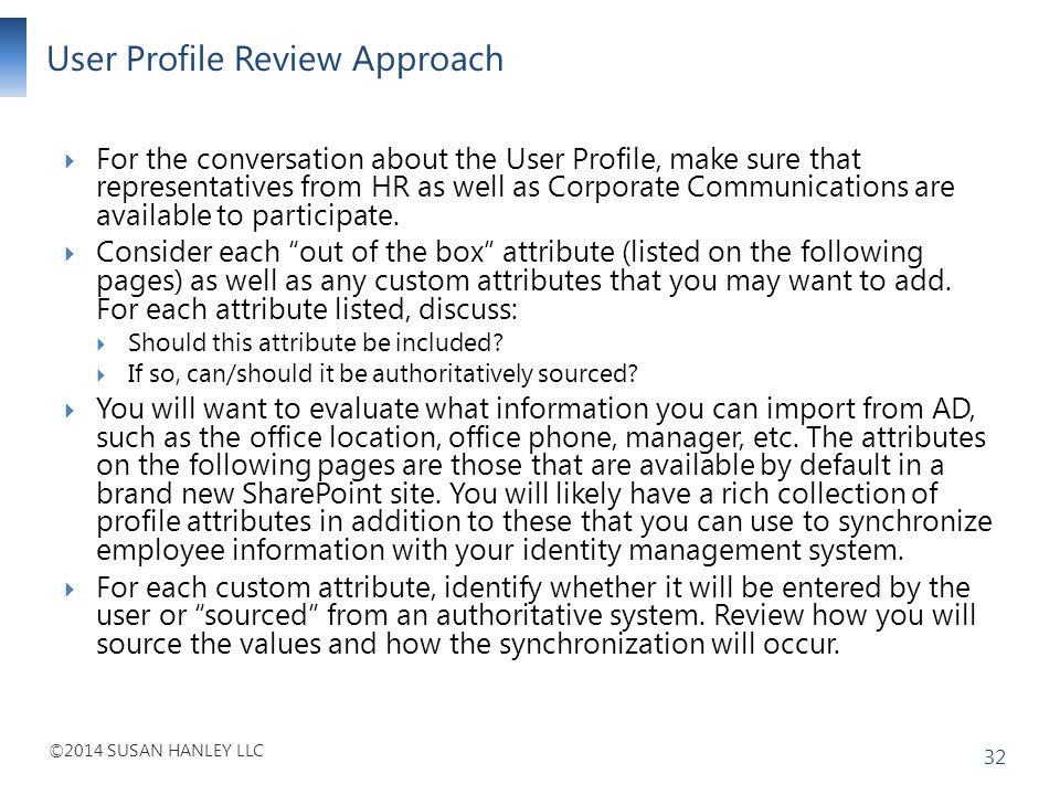 User Profile Review Approach
