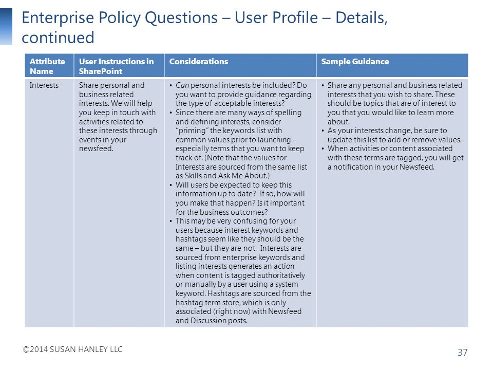 Enterprise Policy Questions – User Profile – Details, continued