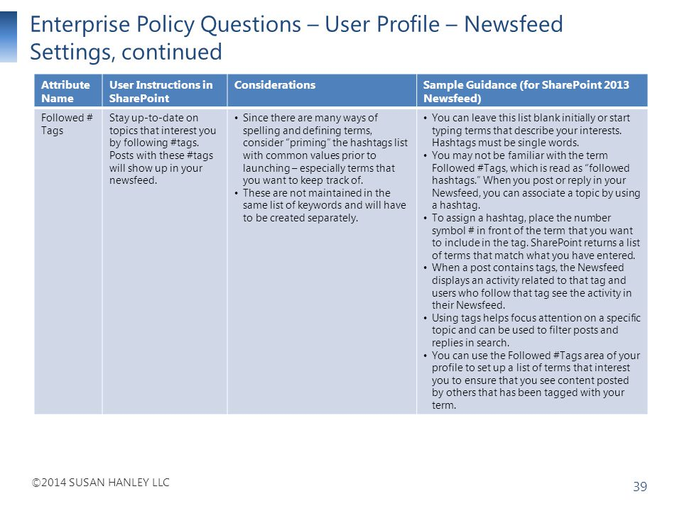 Enterprise Policy Questions – User Profile – Newsfeed Settings, continued