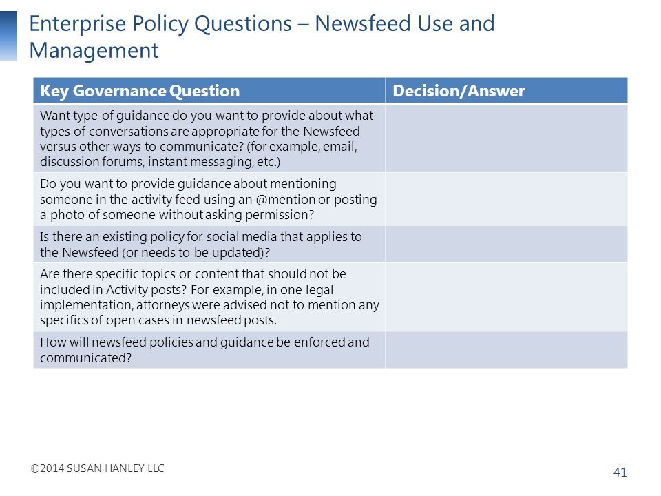 Enterprise Policy Questions – Newsfeed Use and Management