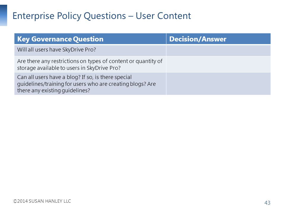 Enterprise Policy Questions – User Content