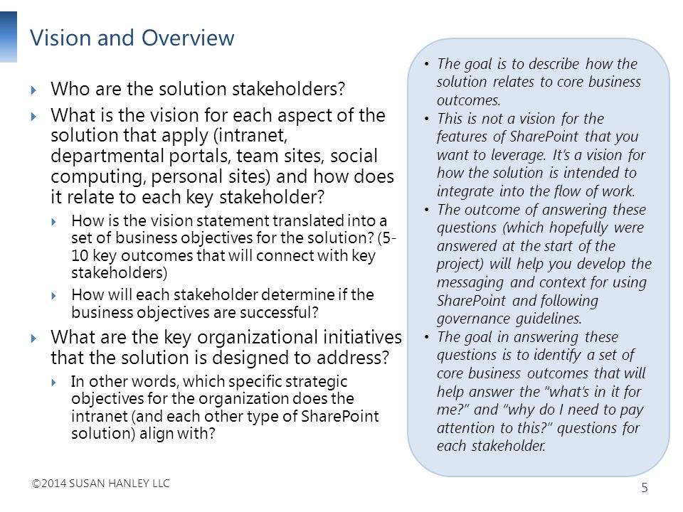 Vision and Overview Who are the solution stakeholders