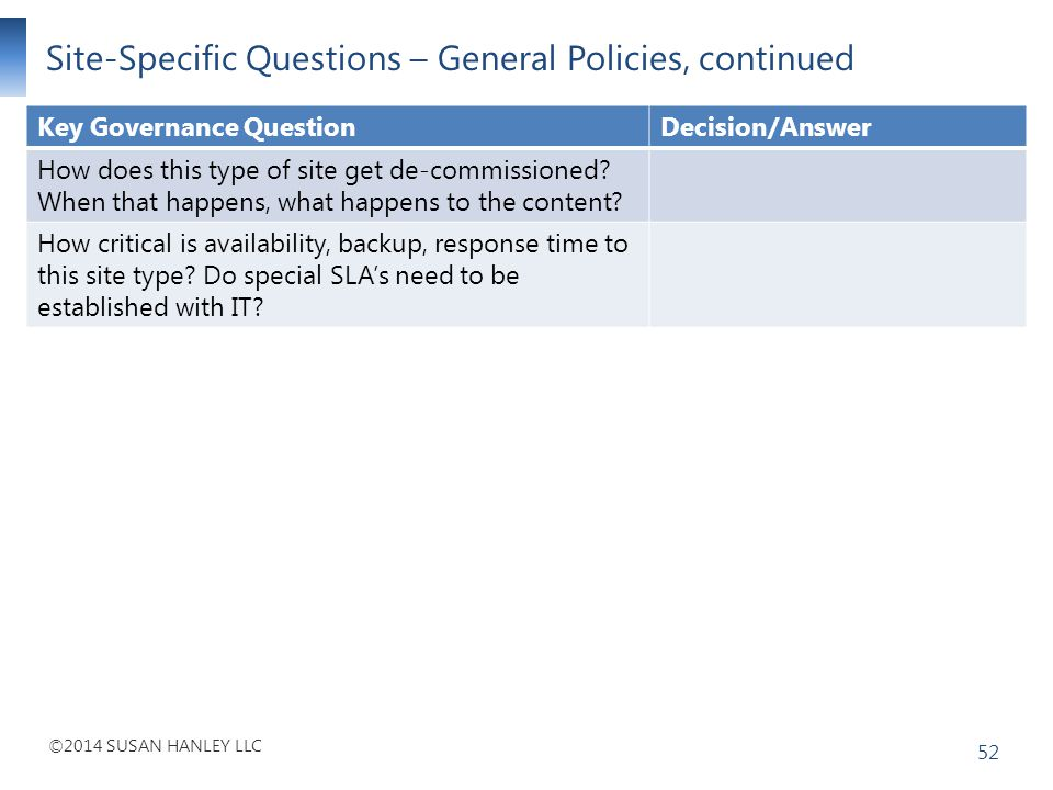 Site-Specific Questions – General Policies, continued