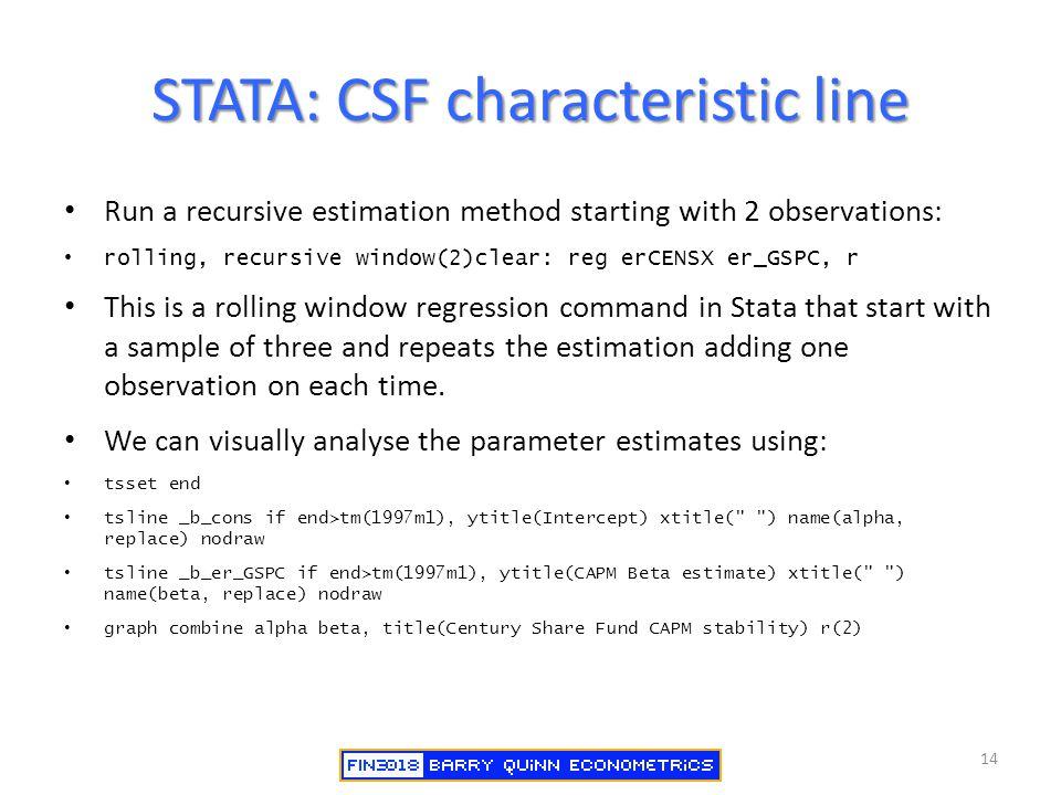 STATA: CSF characteristic line