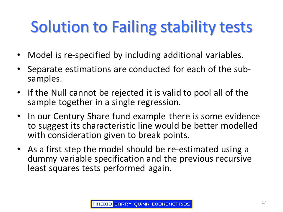 Solution to Failing stability tests