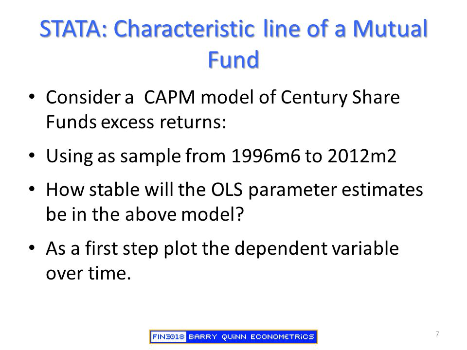 STATA: Characteristic line of a Mutual Fund