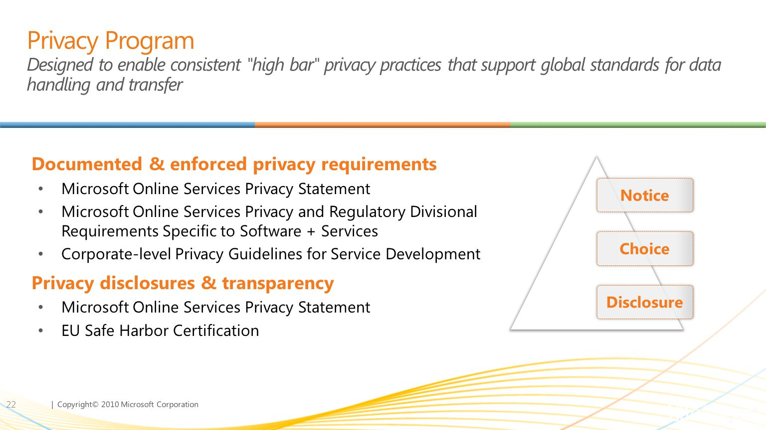 Privacy Program Designed to enable consistent high bar privacy practices that support global standards for data handling and transfer