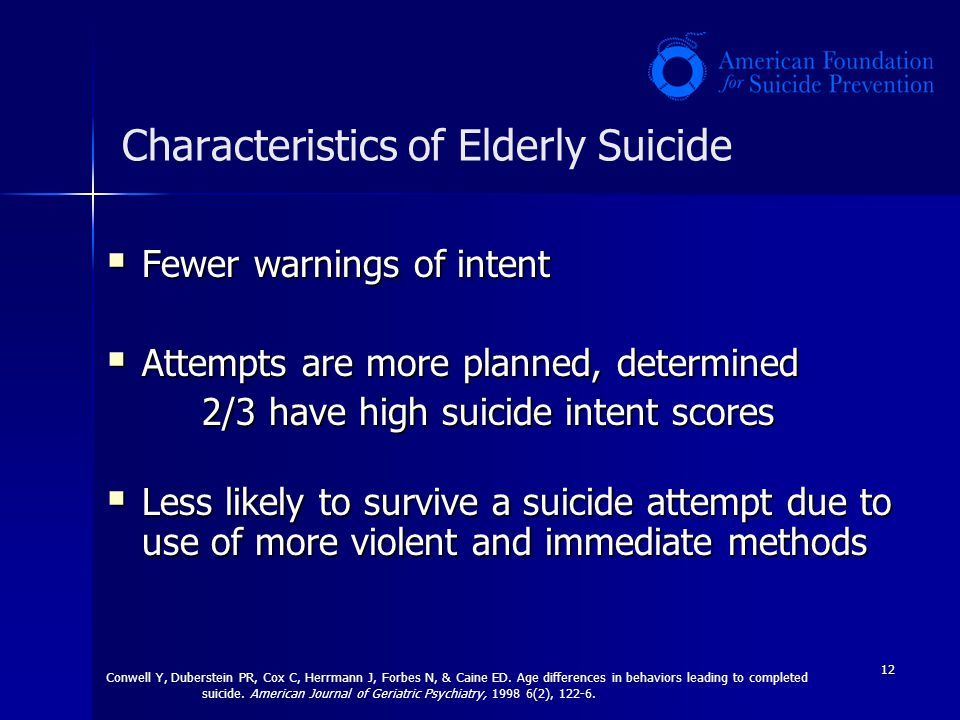 Characteristics of Elderly Suicide