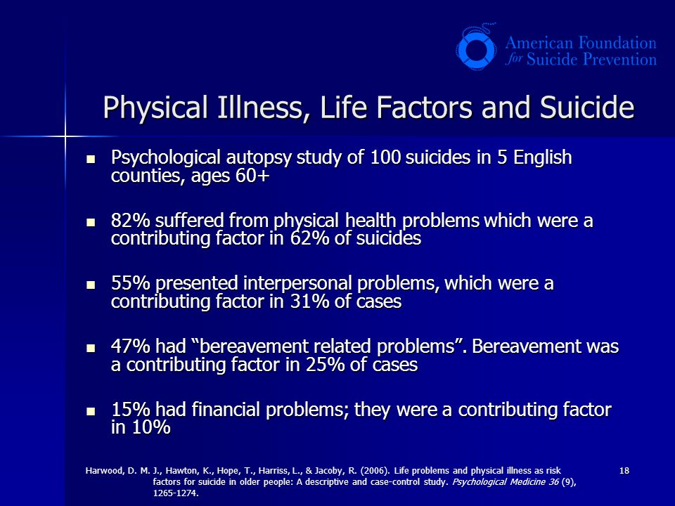 Physical Illness, Life Factors and Suicide