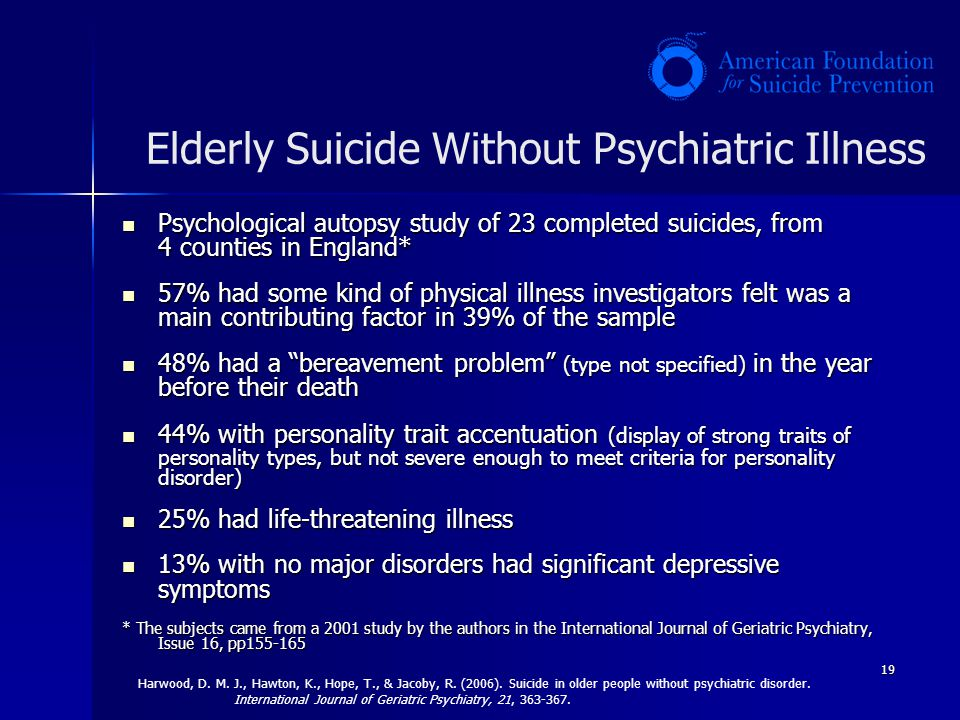 Elderly Suicide Without Psychiatric Illness