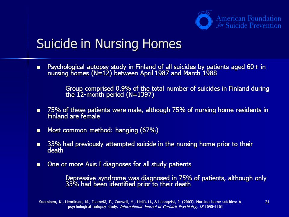 Suicide in Nursing Homes