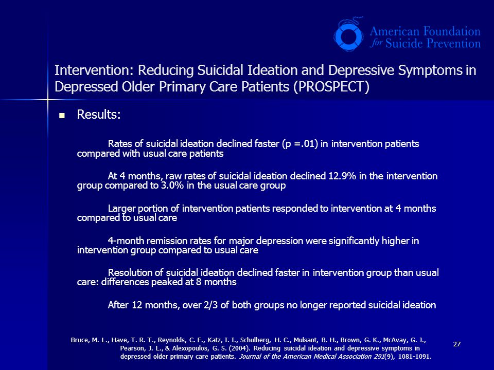 Intervention: Reducing Suicidal Ideation and Depressive Symptoms in Depressed Older Primary Care Patients (PROSPECT)