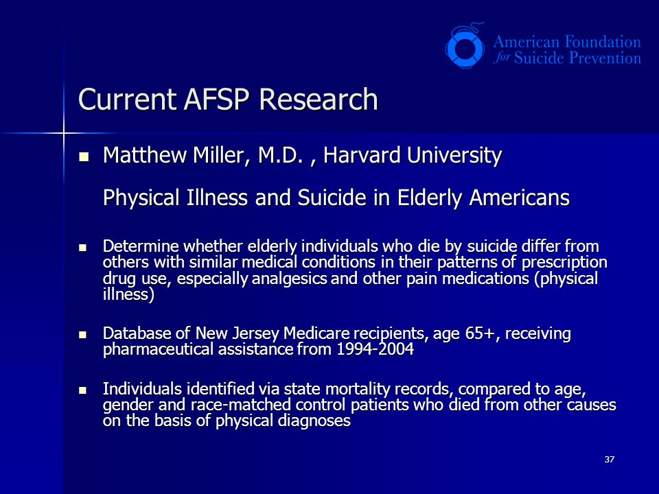 Current AFSP Research Matthew Miller, M.D. , Harvard University Physical Illness and Suicide in Elderly Americans.