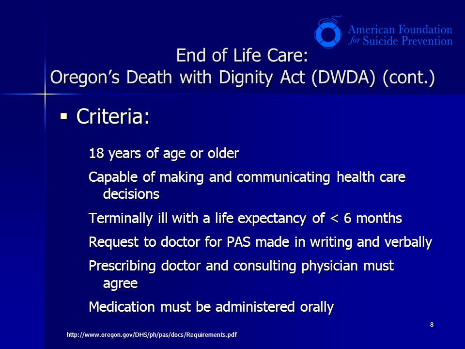 End of Life Care: Oregon's Death with Dignity Act (DWDA) (cont.)