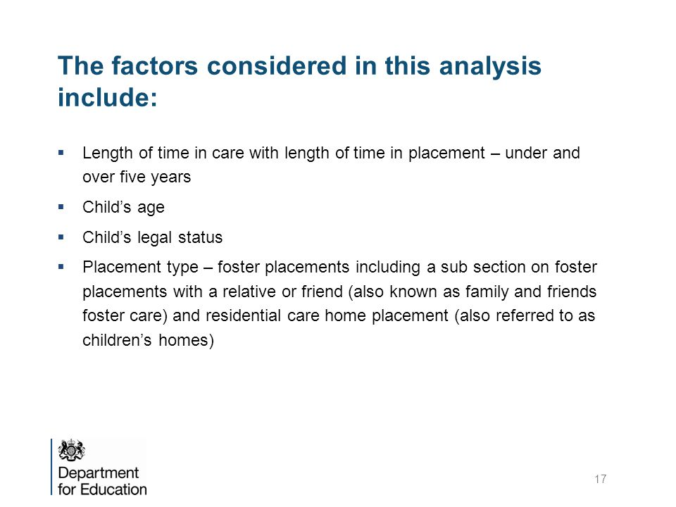 The factors considered in this analysis include: