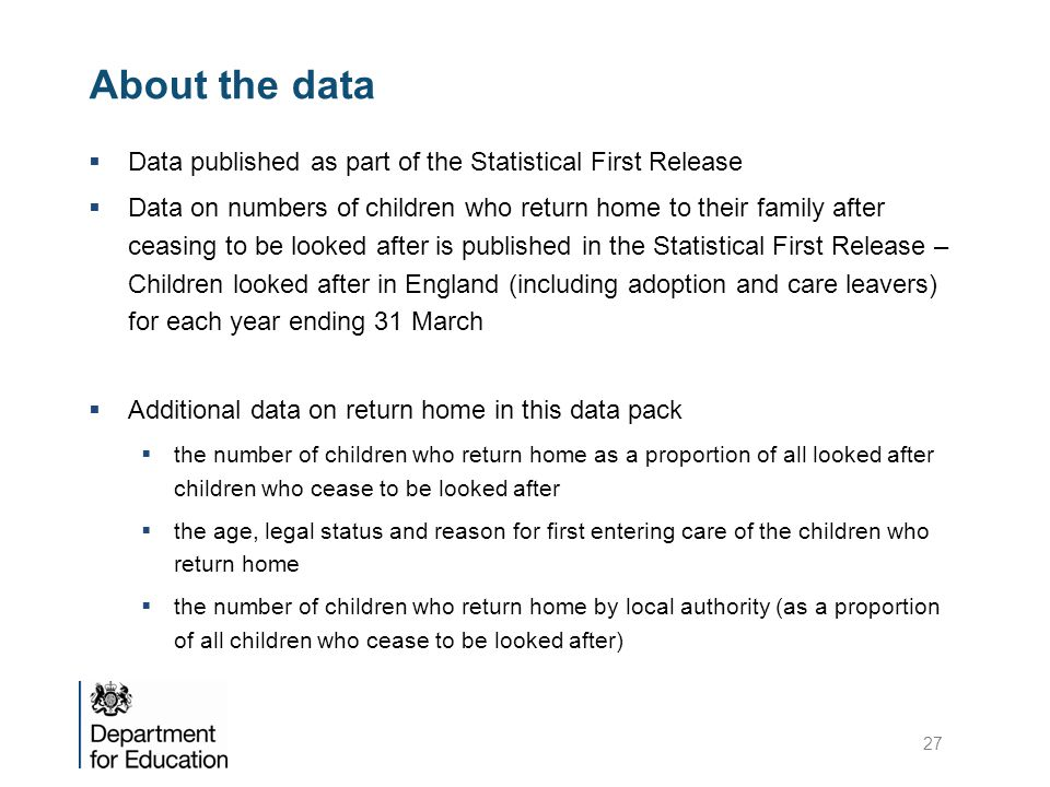About the data Data published as part of the Statistical First Release