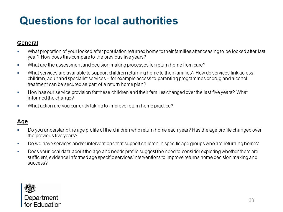Questions for local authorities