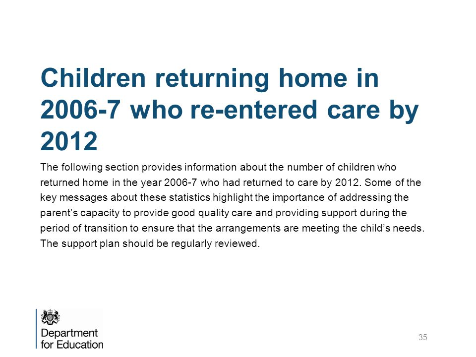 Children returning home in 2006-7 who re-entered care by 2012