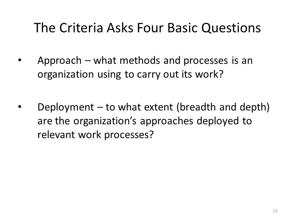 The Criteria Asks Four Basic Questions