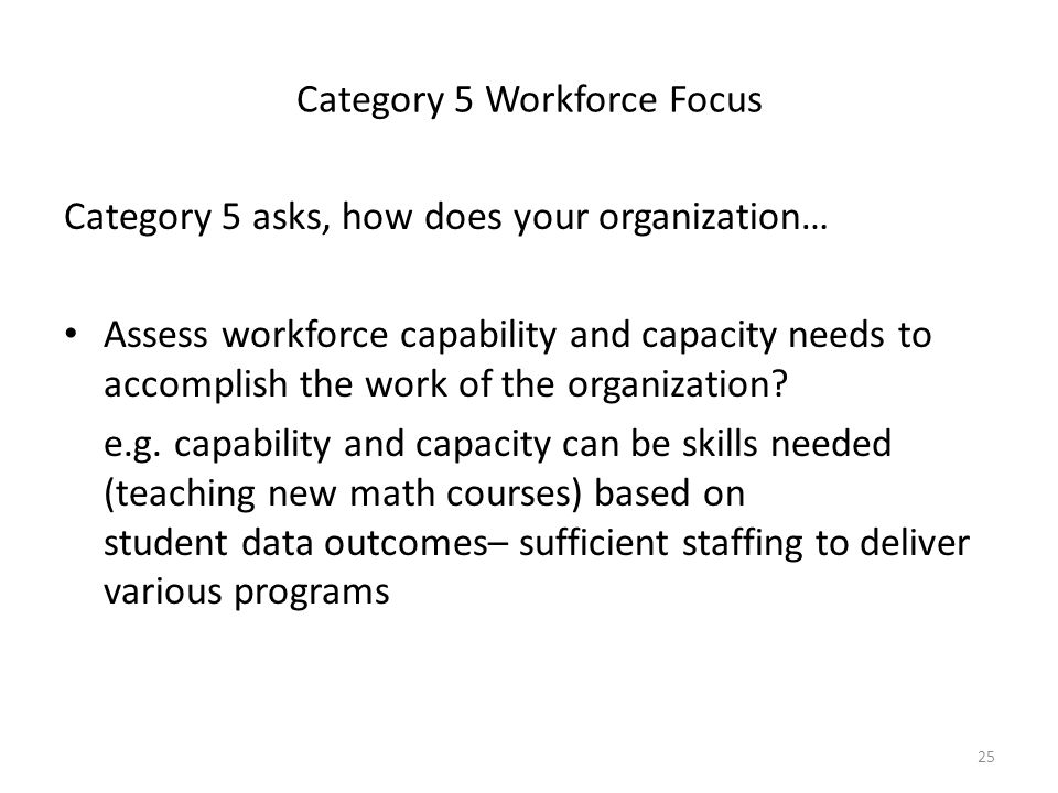 Category 5 Workforce Focus