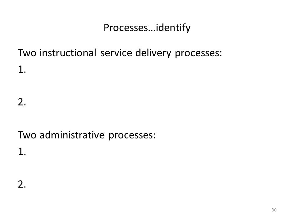 Processes…identify Two instructional service delivery processes: 1.