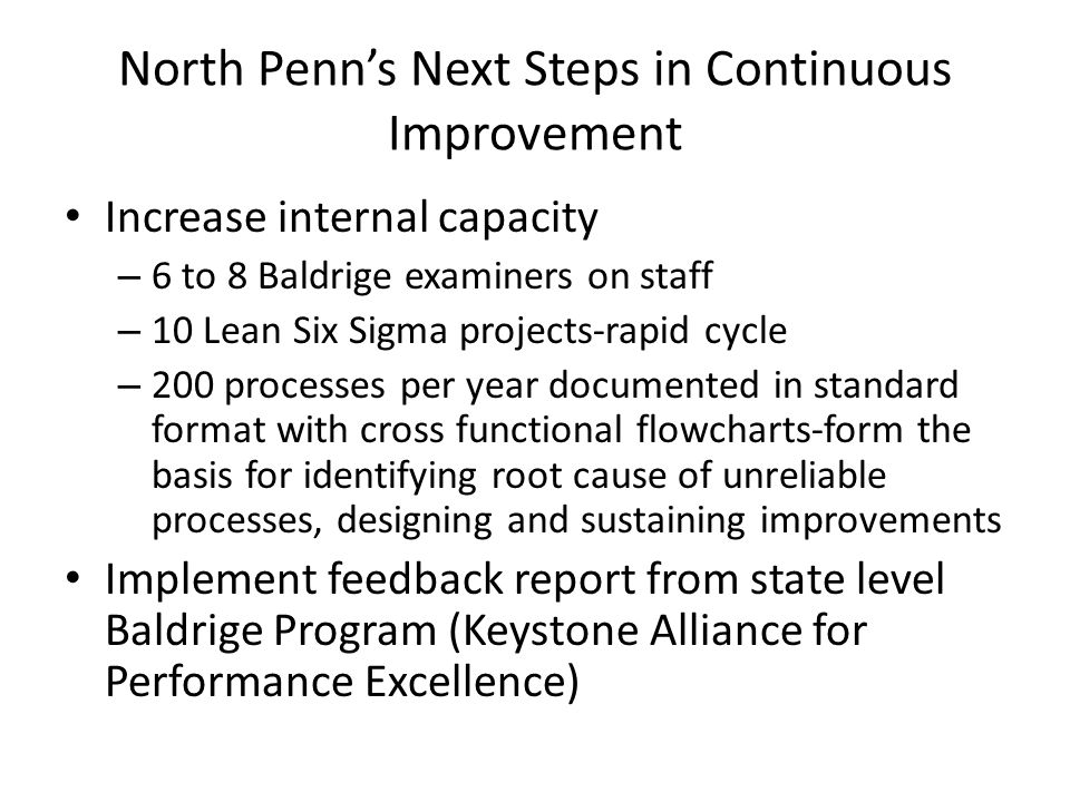 North Penn's Next Steps in Continuous Improvement