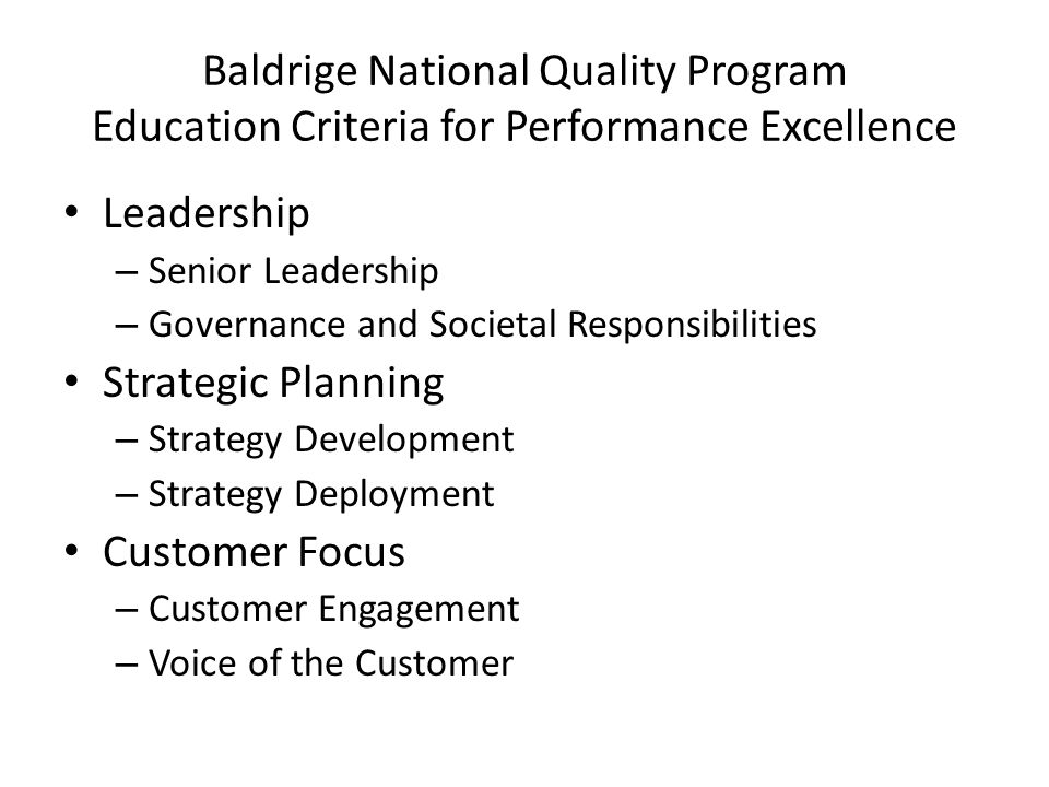 Performance excellence criteria for educational leaders essay