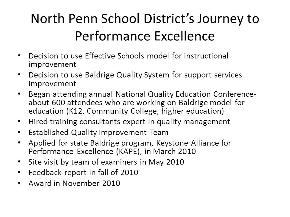 North Penn School District's Journey to Performance Excellence
