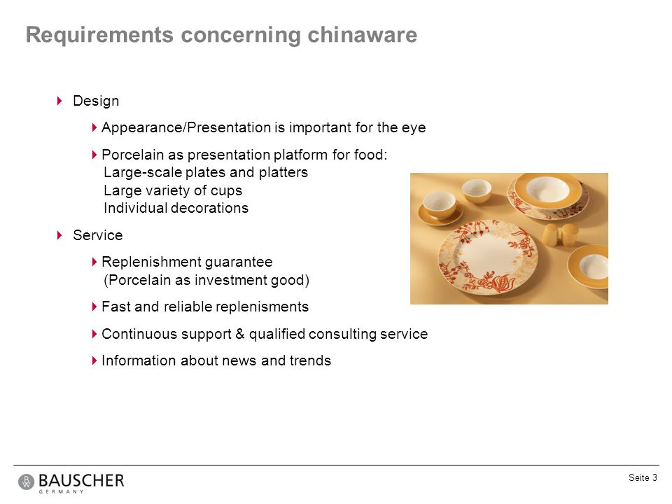 Requirements concerning chinaware