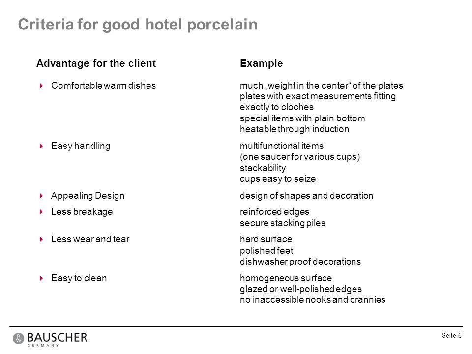 Criteria for good hotel porcelain