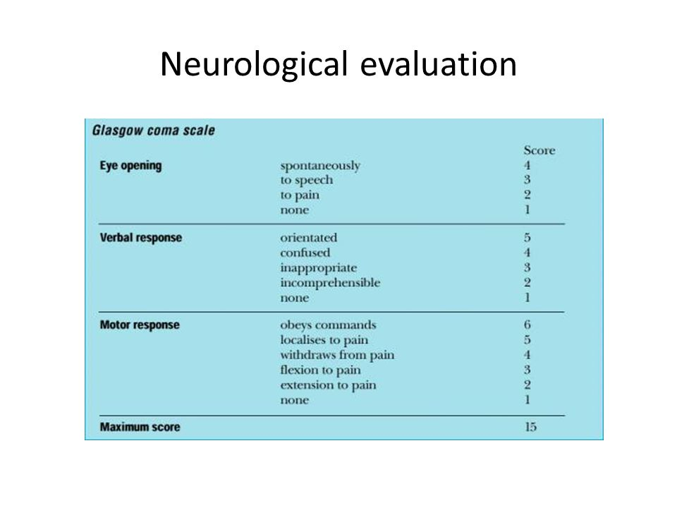 Neurological evaluation