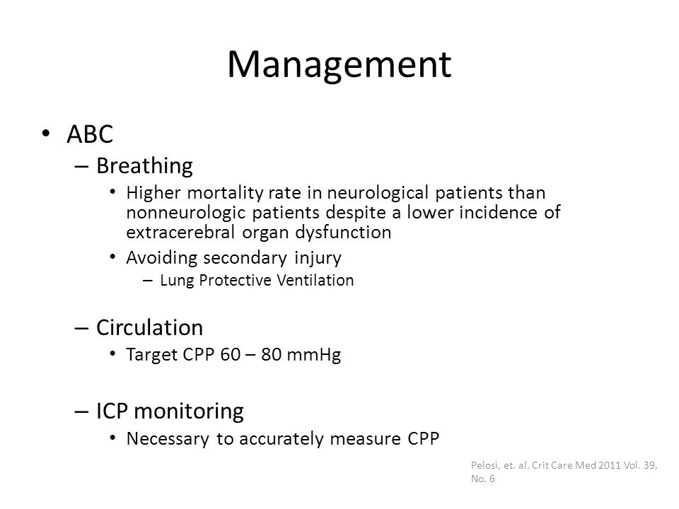 Management ABC Breathing Circulation ICP monitoring