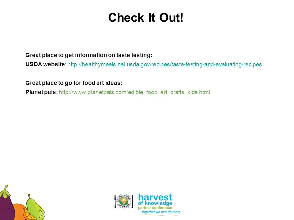 Check It Out! Great place to get information on taste testing: