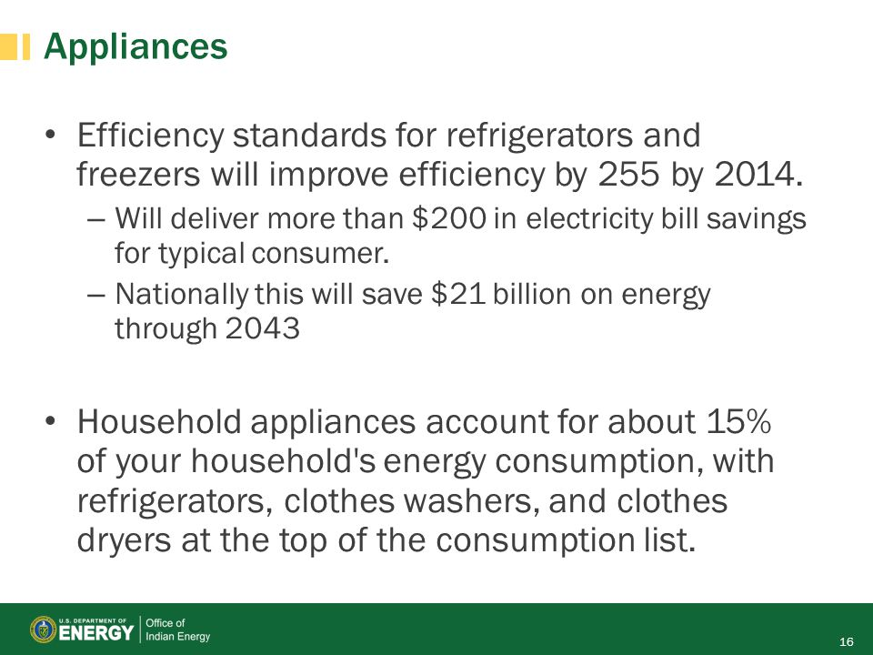 Appliances Efficiency standards for refrigerators and freezers will improve efficiency by 255 by 2014.