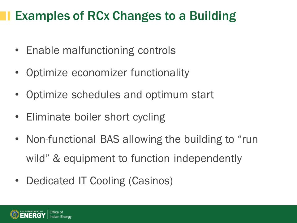 Examples of RCx Changes to a Building
