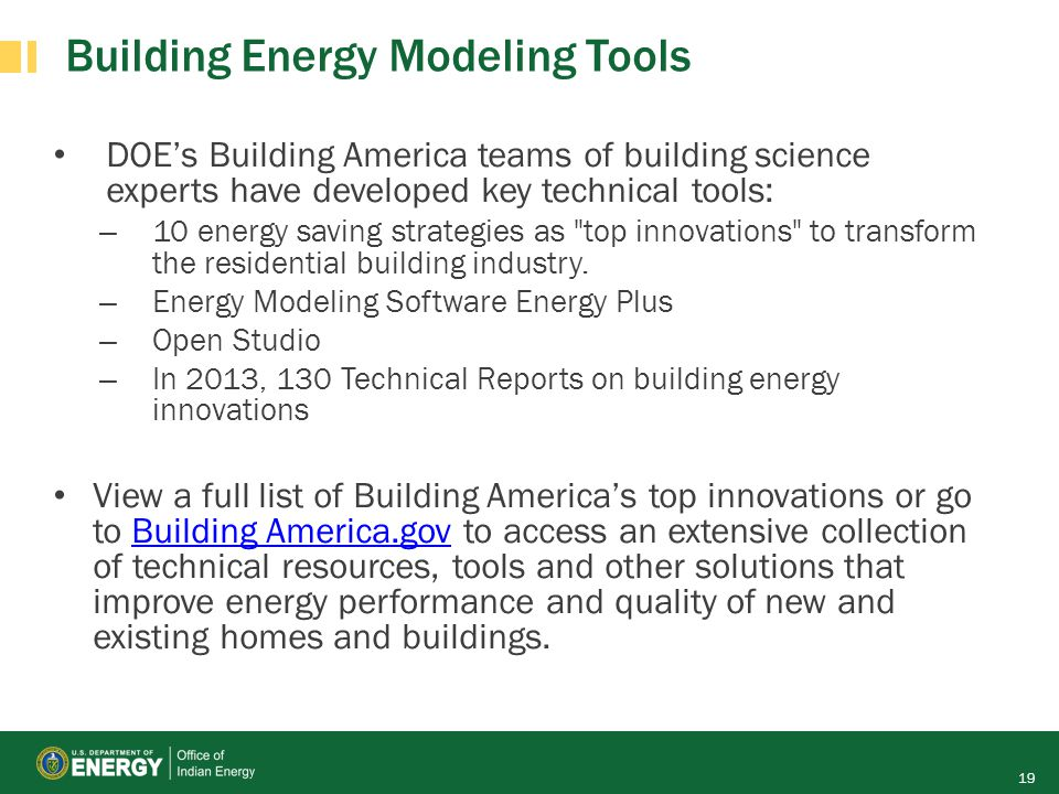 Building Energy Modeling Tools