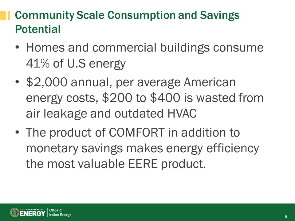 Community Scale Consumption and Savings Potential