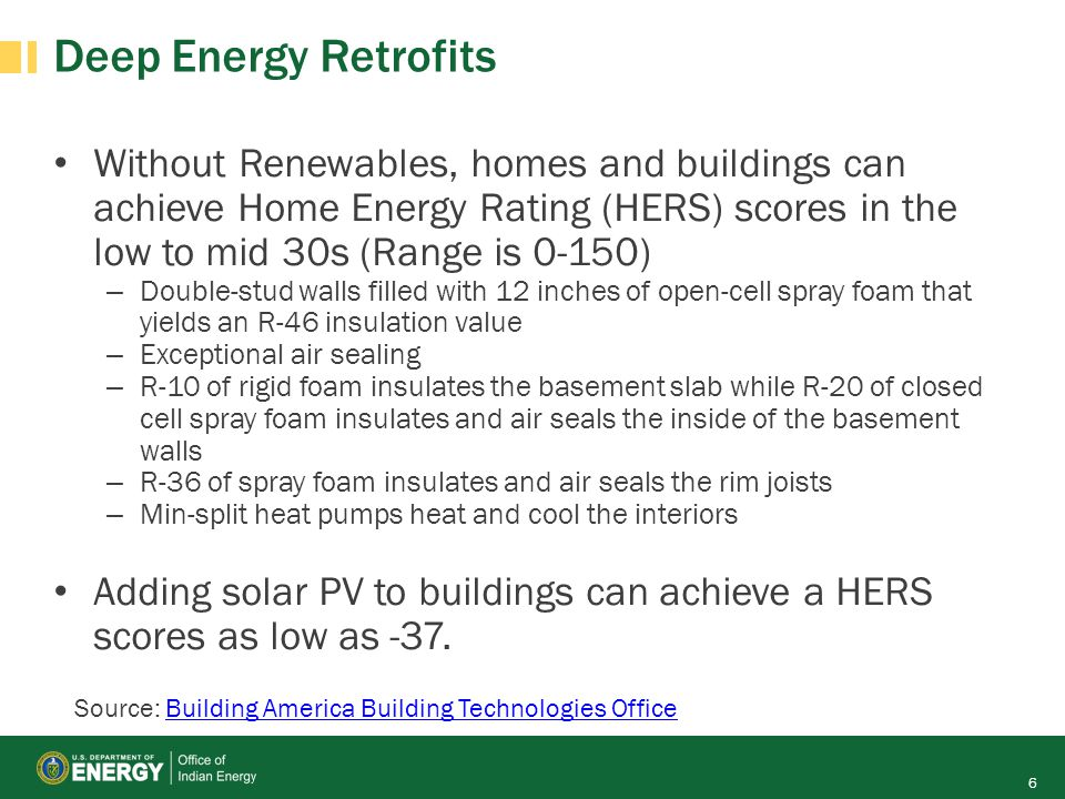 Deep Energy Retrofits Without Renewables, homes and buildings can achieve Home Energy Rating (HERS) scores in the low to mid 30s (Range is 0-150)