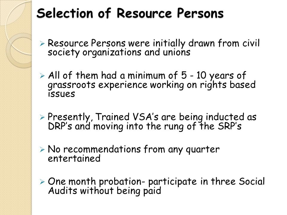 Selection of Resource Persons