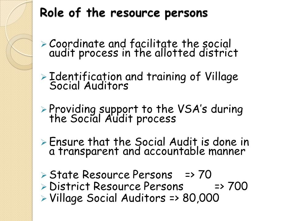 Role of the resource persons