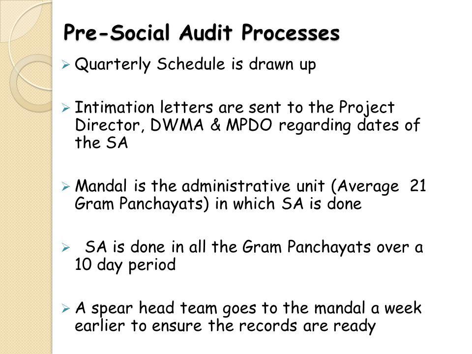 Pre-Social Audit Processes