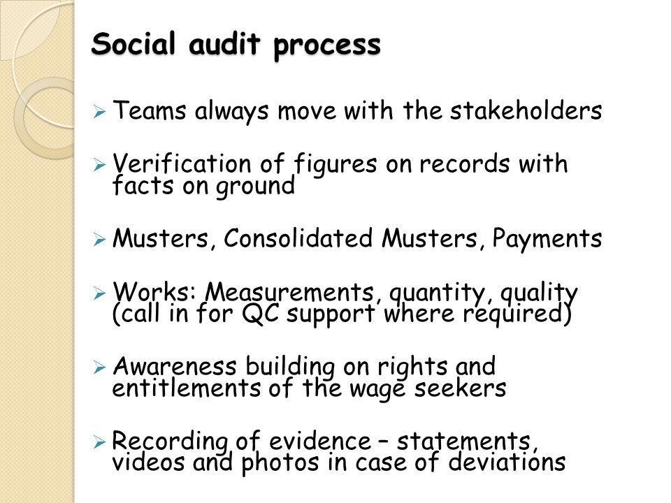 Social audit process Teams always move with the stakeholders