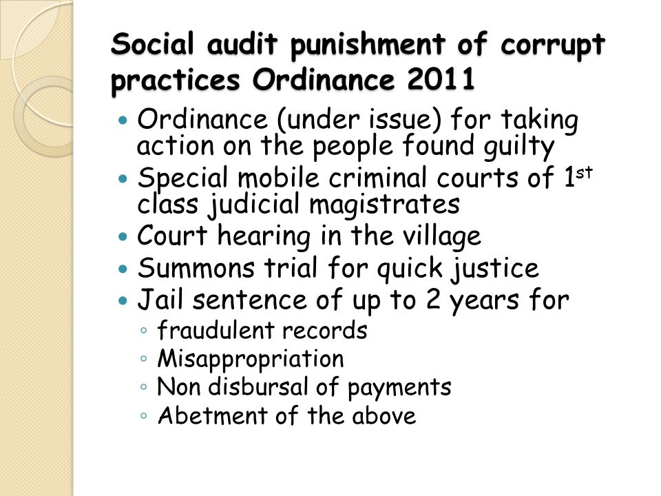 Social audit punishment of corrupt practices Ordinance 2011
