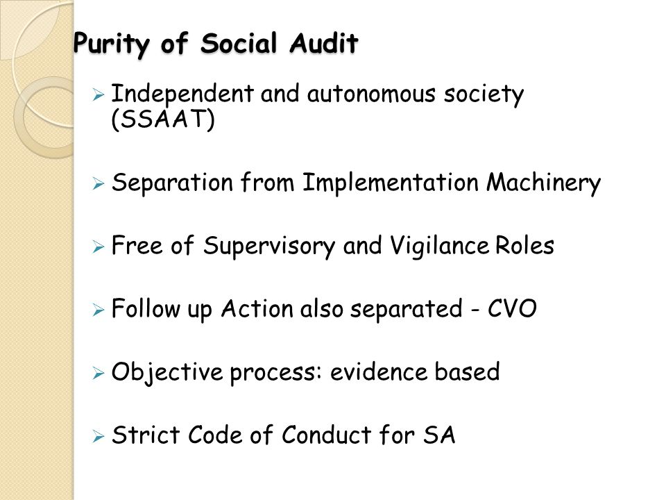 Purity of Social Audit Independent and autonomous society (SSAAT)