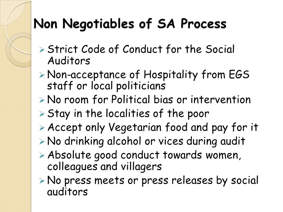 Non Negotiables of SA Process