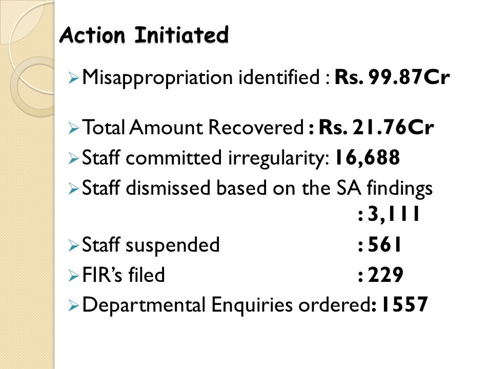 Action Initiated Misappropriation identified : Rs. 99.87Cr. Total Amount Recovered : Rs. 21.76Cr. Staff committed irregularity: 16,688.