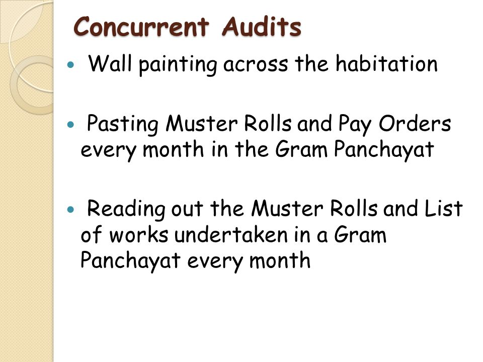 Concurrent Audits Wall painting across the habitation