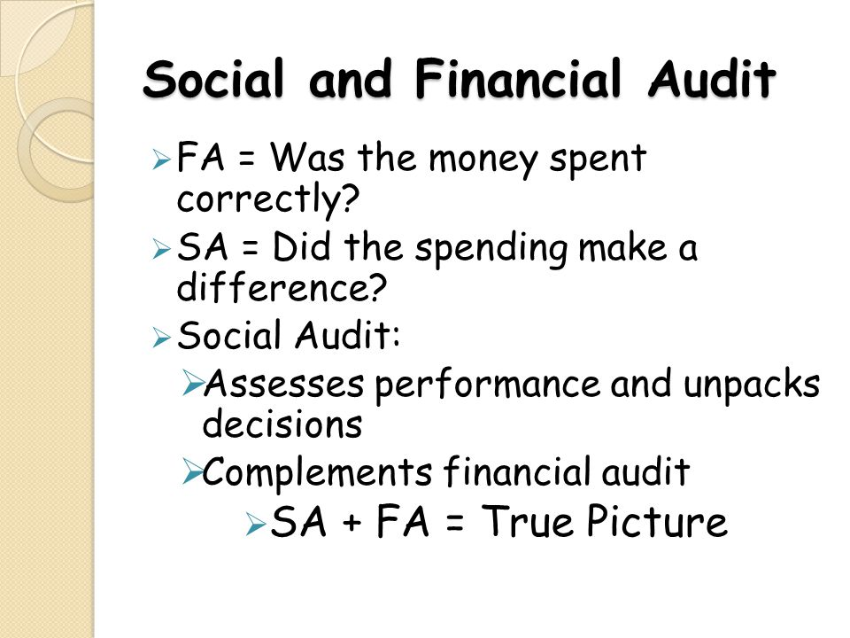 Social and Financial Audit