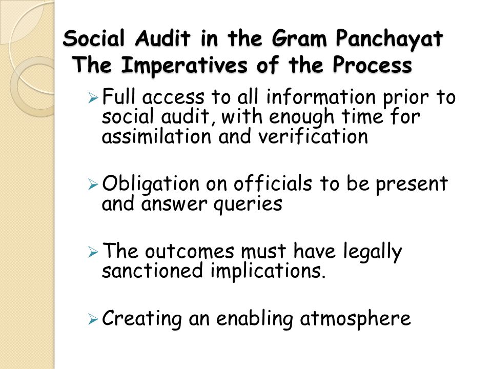 Social Audit in the Gram Panchayat The Imperatives of the Process